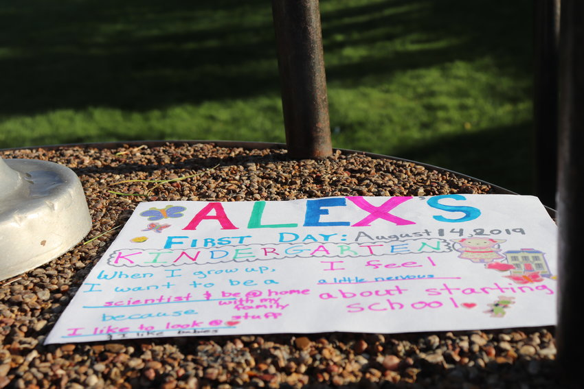 A homemade sign for Alex House, which parents Matt and Beth brought to the school to celebrate her first day of kindergarten.