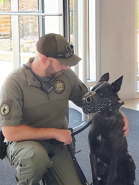 Bomb sniffing K-9 Nuke works with his handler, Arapahoe County Sheriff's deputy Tadd Alexander. Nuke is the sheriff's office's first bomb dog. He is one of three K-9's purchased thanks to work by the nonprofit Back the Blue K-9 Force.