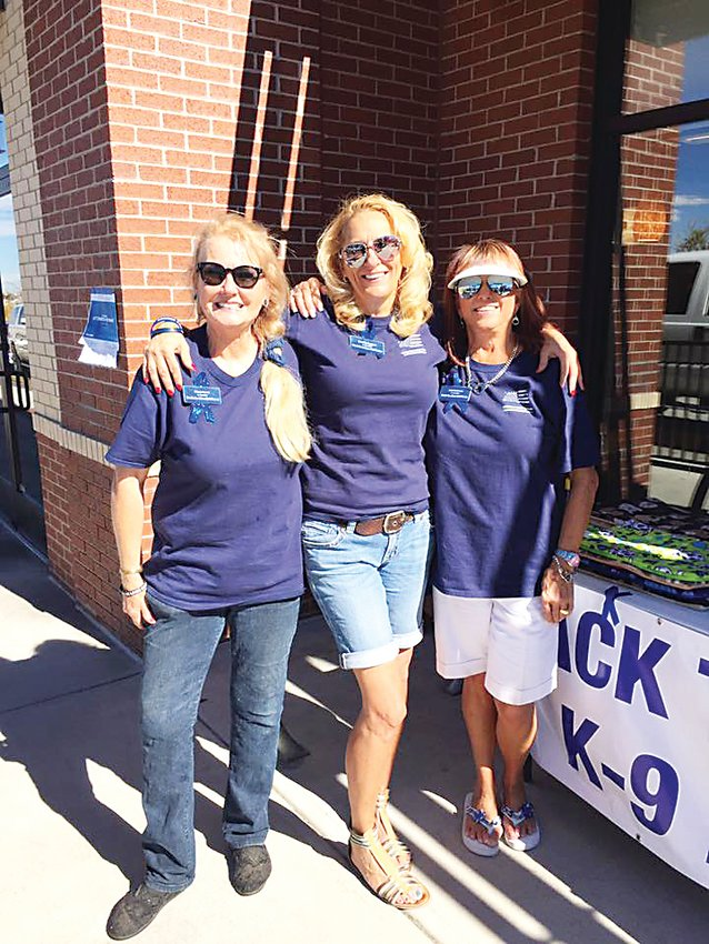Back the Blue K-9 Force was started by Centennial residents, from left, Diane Lewis, Jennifer Leggatt and Judy Anderson. The nonprofit organization raises money to provide for the safety and health of K-9 officers in the area.
