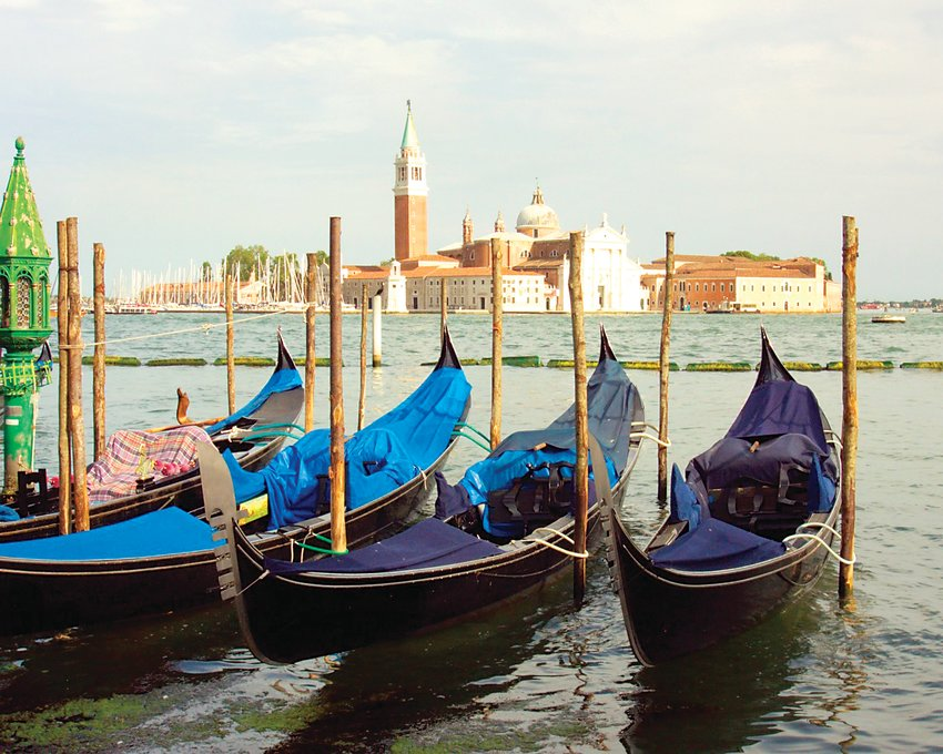 Gondolas at rest near Venice, by Roseanne Jurgens, who traveled to Italy with the ACC Study Abroad group.