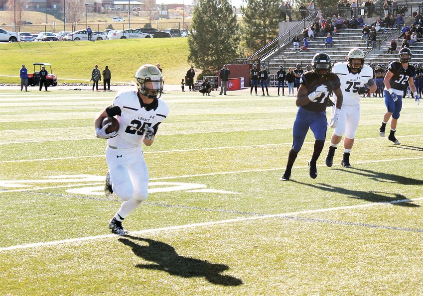 Legacy upcoming senior running back Dakota Key sprints down the sideline against Grandview Nov. 10 in the second round of the 5A state playoffs at Legacy Stadium.