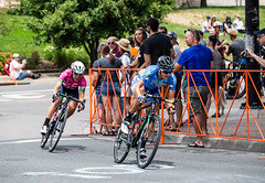Fearless Femme's Rebecca Wiasak (in blue) won Stage 1 of the 2018 Colorado Classic.  She took third in Stage 3 after a mid-race breakaway in which she led for two laps with only Silvia Valsecchi (BePink) on her wheel and the peloton as much as 50 seconds behind her.