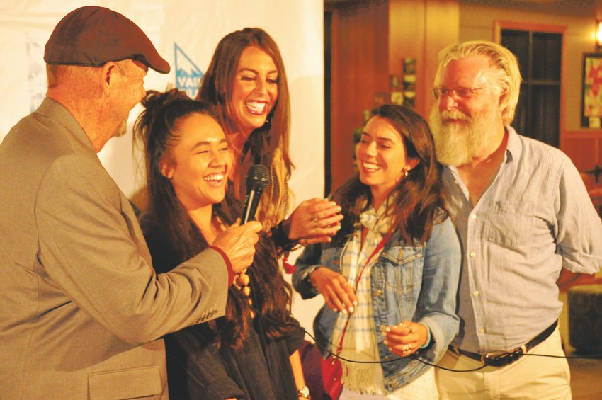 "From left, ""Once Upon a River's"" actors John Ashton and Kenadi DelaCerna, Gretchen Pleshaw, host of The Lift FM, ""Once Upon a River's"" director Haroula Rose and Thirty Tigers' David Macias share a laugh on the red carpet during the Vail Film Festiva"