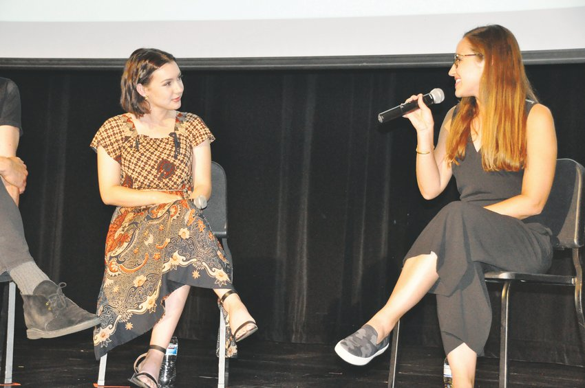 "Hannah Marks, left, and Mariel Rodriguez-McGill, deputy film commissioner with the Colorado Office of Economic Development and International Trade, discuss ""Banana Split,"" (which Marks wrote executive produced and starred in), the winner for best narrative feature feature at the Vail Film Festival. Marks also received the rising star award during the annual event."