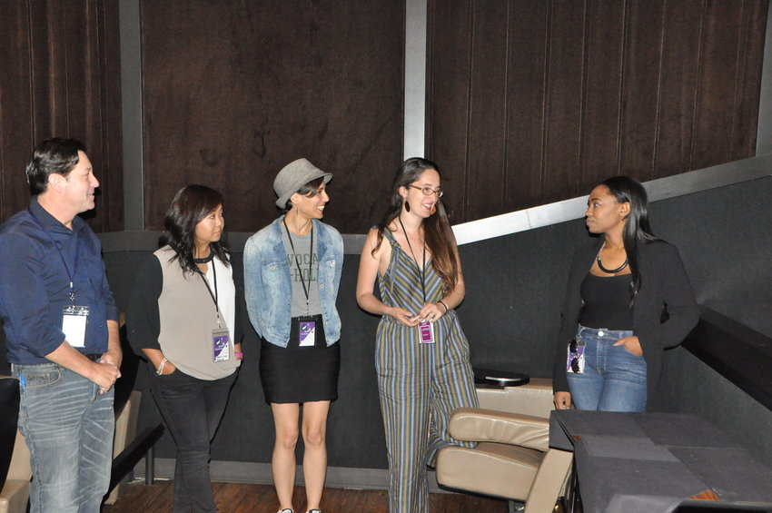 "RJ Wagner leads a post-screening discussion with the team behind ""Bring Me An Avocado."" From left, co-producer Natasha Chee, producer Bianca Beyrouti, writer/director Maria Mealla and actor Candace Roberts."