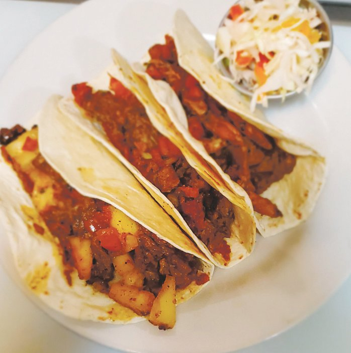 Reggae Fusion Tacos from Marcia and Joe's Kitchen, a Jamaican food specialty food truck.