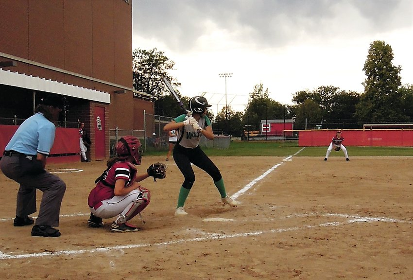 Recording Westy's lone hit of the contest, Alicia Samaniego awaits the pitch that she singled on Aug. 23 at Denver East.