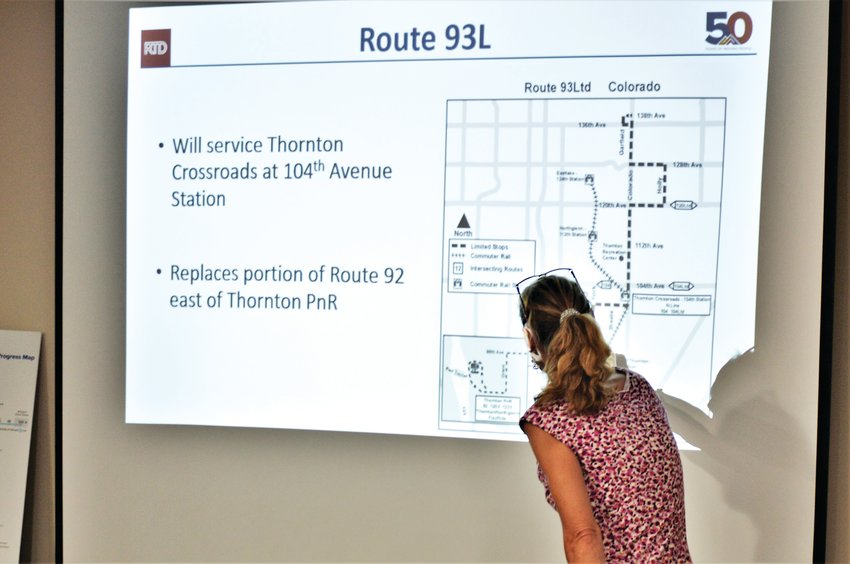 RTD Service Planner Nataly Handlos explains changes to bus service that are being proposed for Adams County riders once the N-Line commuter rail opens in 2020.