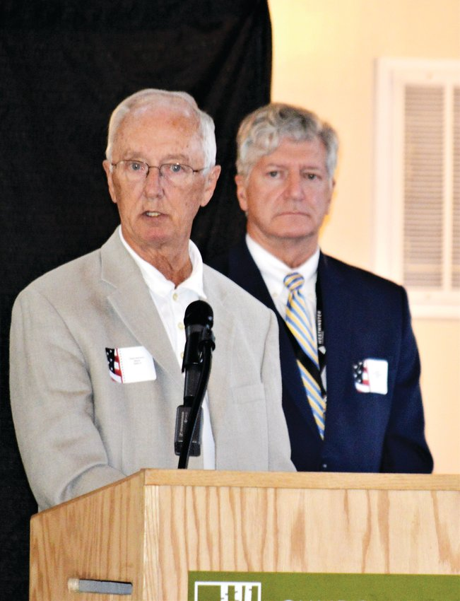 Westminster Mayor Herb Atchison and Economic Development Director John Hall answer questions during the annual State of the City luncheon Aug. 28.