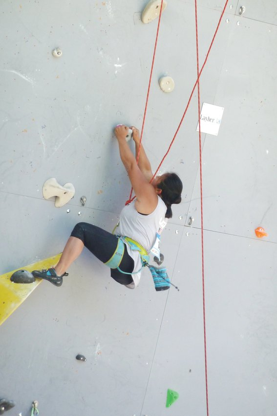 Golden resident Jess Sporte climbs at the 2019 Paraclimbing World Championships in France. Sporte got involved with adaptive climbing nonprofit Paradox Sports in 2015, where she has honed her climbing skills both casually and competitively after undergoing a leg amputation during her childhood.