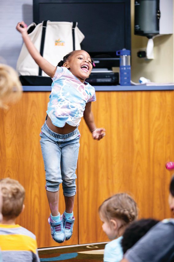 A Warren Village student jumps during a Swallow Hill class. Swallow Hill CEO Paul Lhevine said the opportunity to expand outreach programming was part of the reason he wanted to join the nonprofit.