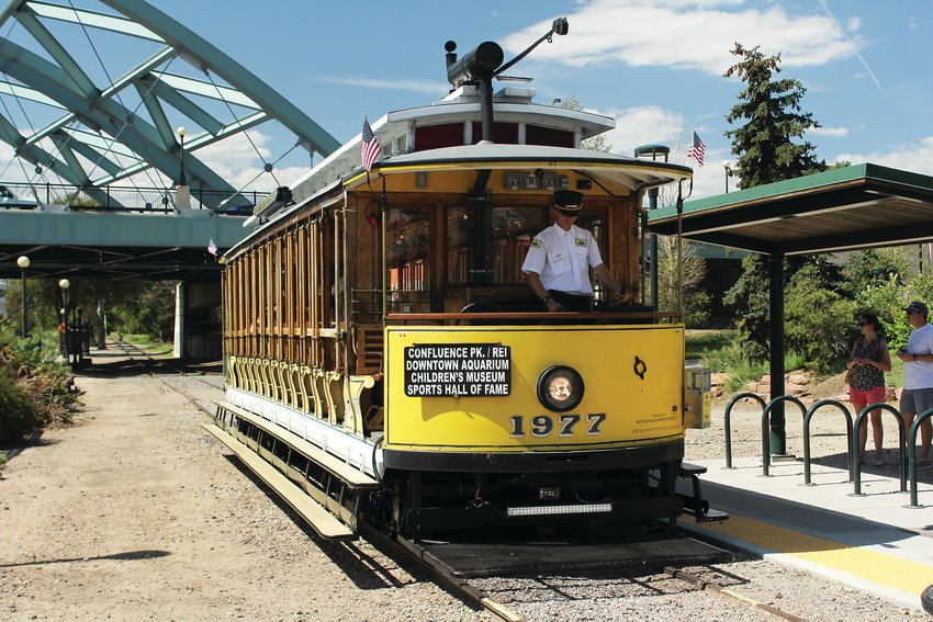 Trolleys stop at the flagship REI in Denver, and follow the Platte River to stops such as Broncos Stadium and the Downtown Aquarium. Streetcar trolleys first came to Denver in the late 1800s and were the main way of getting around town until 1950.