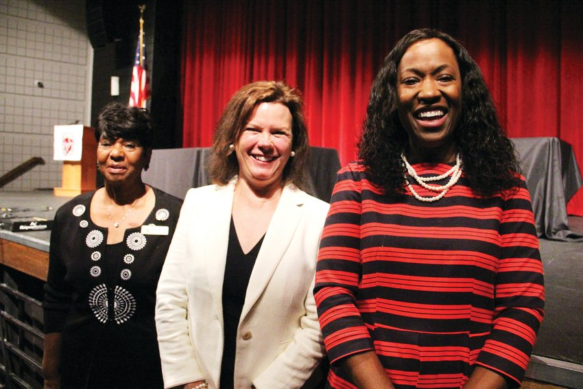 From left, Secretary Janice McDonald, Anne Egan and Angela Garland, candidates for Cherry Creek School District Board of Education. The three spoke at Eaglecrest High School Sept. 4 during the district's first candidate forum of the campaign season.