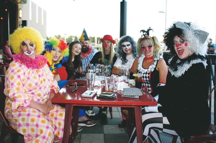 "A group from friends from various cities in Jefferson County celebrate Stacy Trefethen's birthday, pictured on the far right in the front, at the Alamo Drafthouse Westminster's special clowns-only Screening of Stephen King's ""IT Chapter Two"" on Sept. 7."