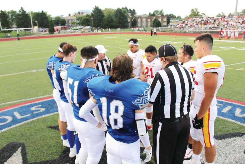 At Five Star Stadium Aug. 30, Northglenn and Thornton captains meet at the 50-yard line in the season-opener.