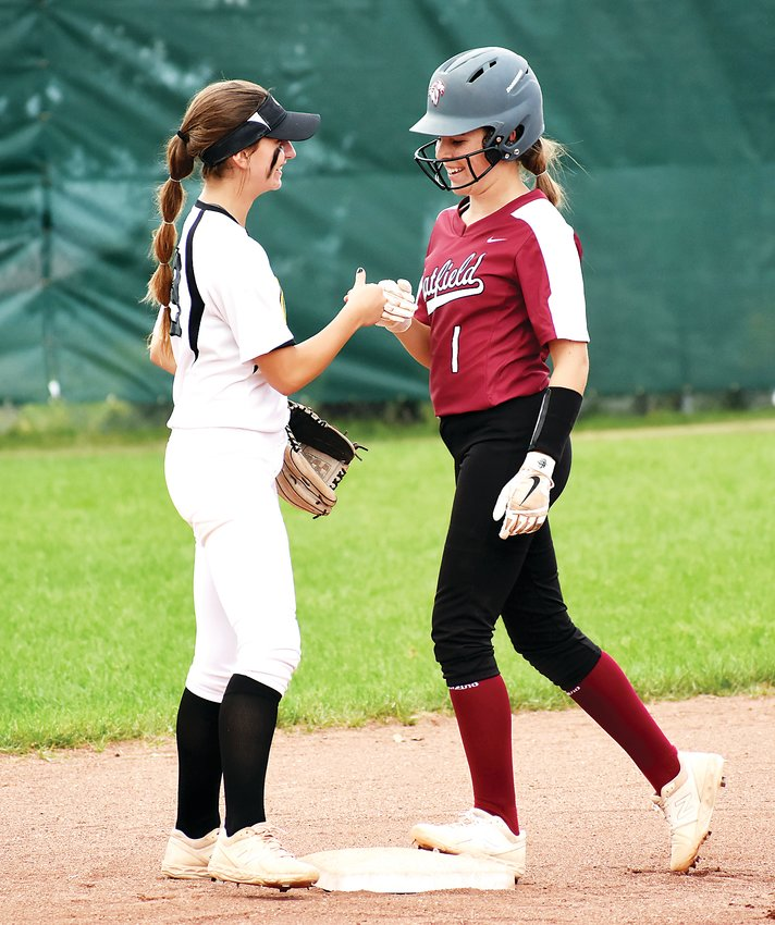 Chatfield's Courtney Bidwell after she hit a double Tuesday, Sept. 3, at Green Mountain High School. The Rams suffered their first loss of the season with a 13-1 defeat to the Chargers.