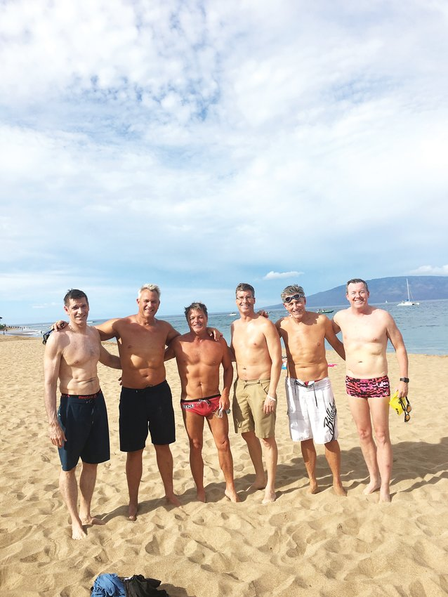 From left, Kirk Anderson, Steve Kahl, Greg Scott, Bob Garland, Mike Mann and Tim Hinchey teamed up to participate in the 2019 Maui Channel Swim, a 9.9-mile relay swim Aug. 31. The Club Greenwood swimmers placed 11th out of 40 teams.