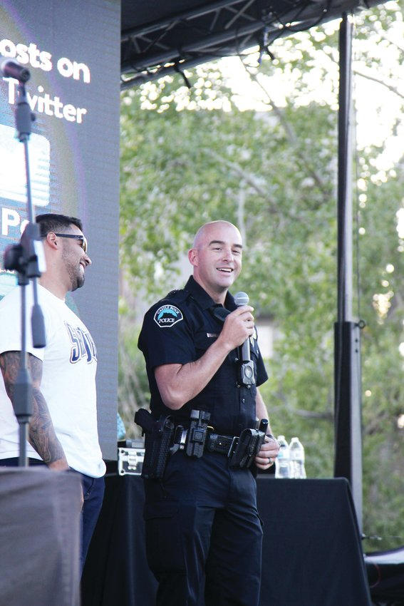 Sgt. Austen Schlecht speaks to the crowds ahead of the Lip Sync to the Rescue finale.