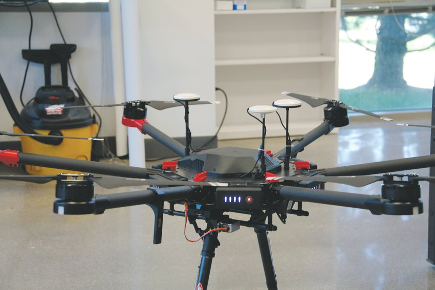 A drone that's part of a project between Arrow Electronics and a Colorado high school sits in the Colorado Open Lab Sept. 12.