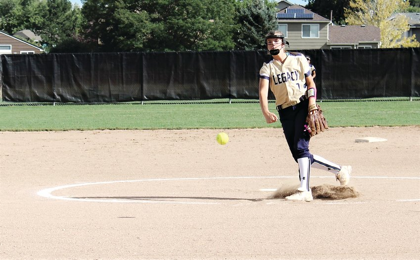 Legacy senior Hannah Farley delivers the pitch against Highlands Ranch at Cresthill Middle School Sept. 11.