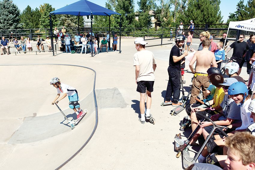Friends, family and fellow competitors enjoy watching the Ruler of the Railzz participants at Redstone Skate Park.
