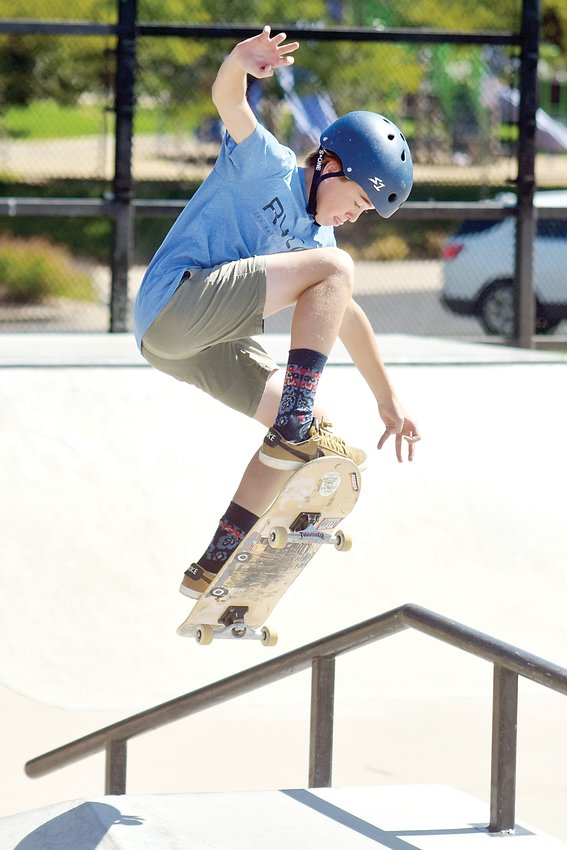 Garrett Clark competes in the Ruler of the Railzz skate park competition on Saturday, Sept. 14. Clark took first in both the Intermediate Street Skateboarding and Advanced Bowl Skateboarding categories.