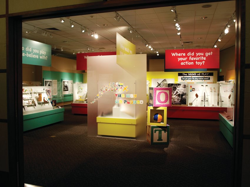 An entrance past giant building blocks leads to a collection of all sorts of toys and exhibit text to jog the visitor's memory juices.