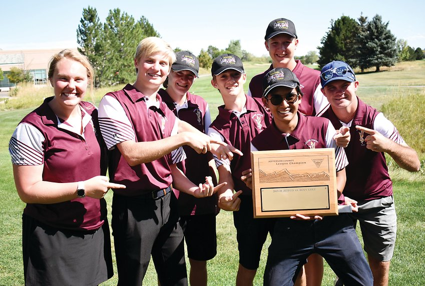Golden celebrated winning the Class 4A Jeffco League team title Tuesday, Sept. 17, at The Broadlands Golf Course. The Demons edged Evergreen by six strokes over the six conference tournaments.