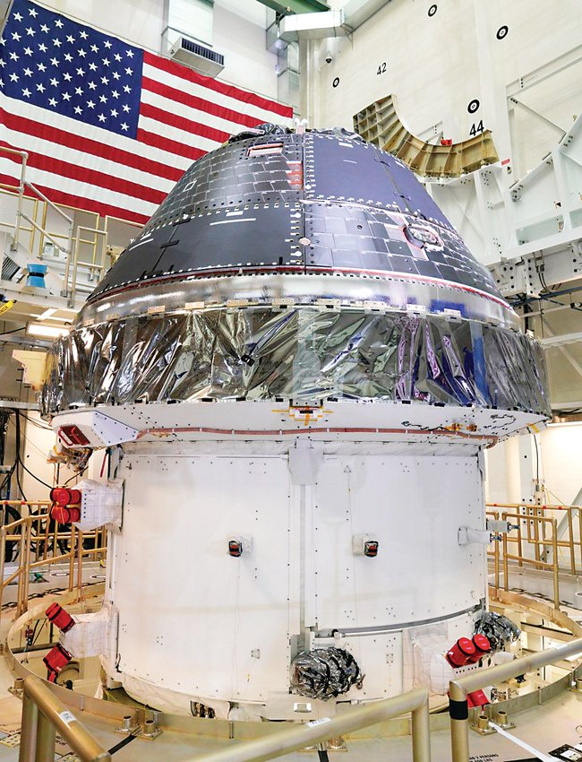 A finished Orion capsule prepped for the first Artemis Program mission sits at Florida's Kennedy Space Center. The spacecraft, largely designed at Lockheed Martin's Jefferson County facility, could return astronauts to the moon in coming years. NASA recently finalized a contract for up to 12 spacecraft.