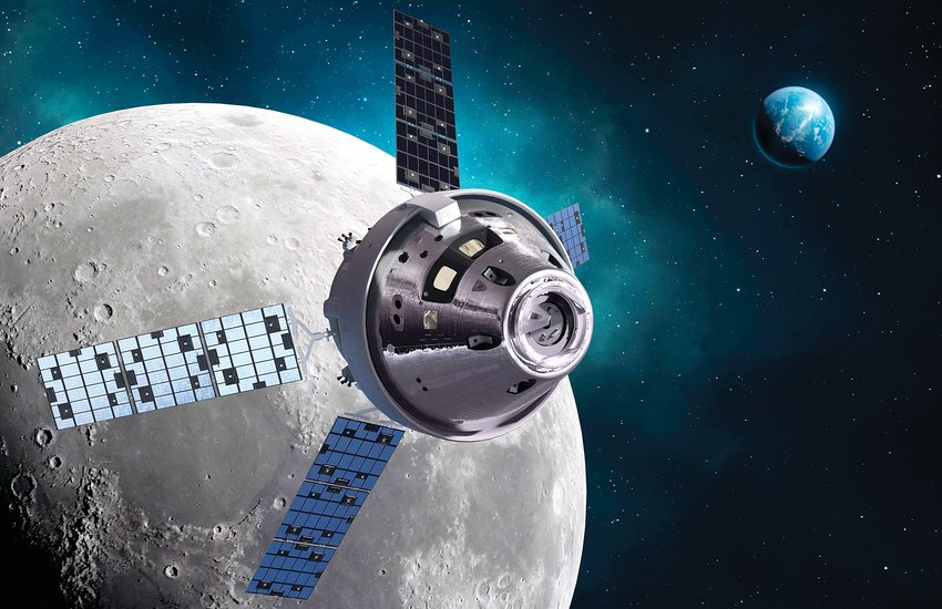 An Orion spacecraft orbits the moon in an artist's rendering. NASA recently finalized a contract for up to 12 Orion capsules from Lockheed Martin, where Littleton-based engineers have done much of the design and testing on the craft that could return astronauts to the moon in coming years.