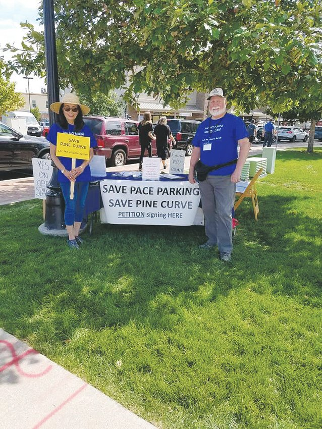 The SAVE Pace Parking and Pine Curve group has until Oct. 9 to collect roughly 6,000 signatures to put a referendum on the ballot to rezone to downtown properties to open space.
