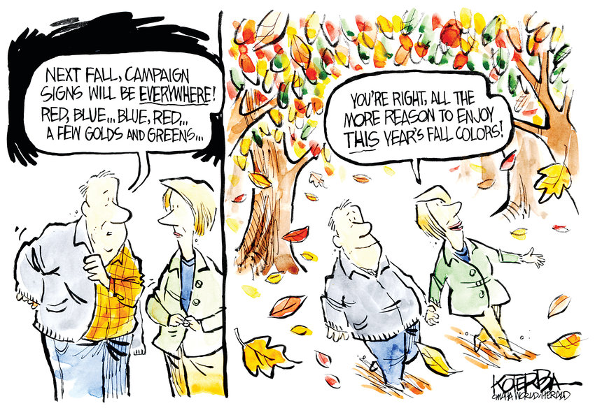 Jeff Koterba October 18, 2015,.Fall Colors Leaves Campaign Politics