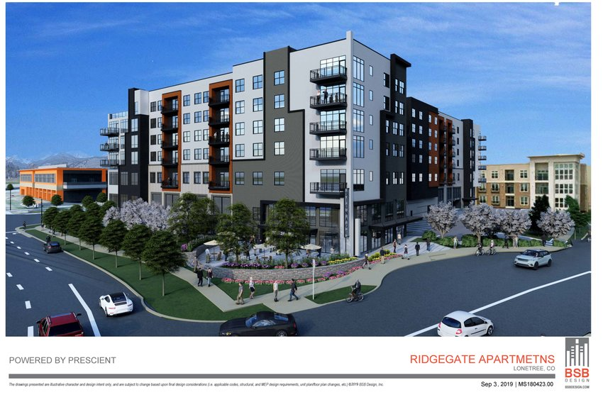 A rendering of the seven-story apartment complex to come to Sky Ridge Station.