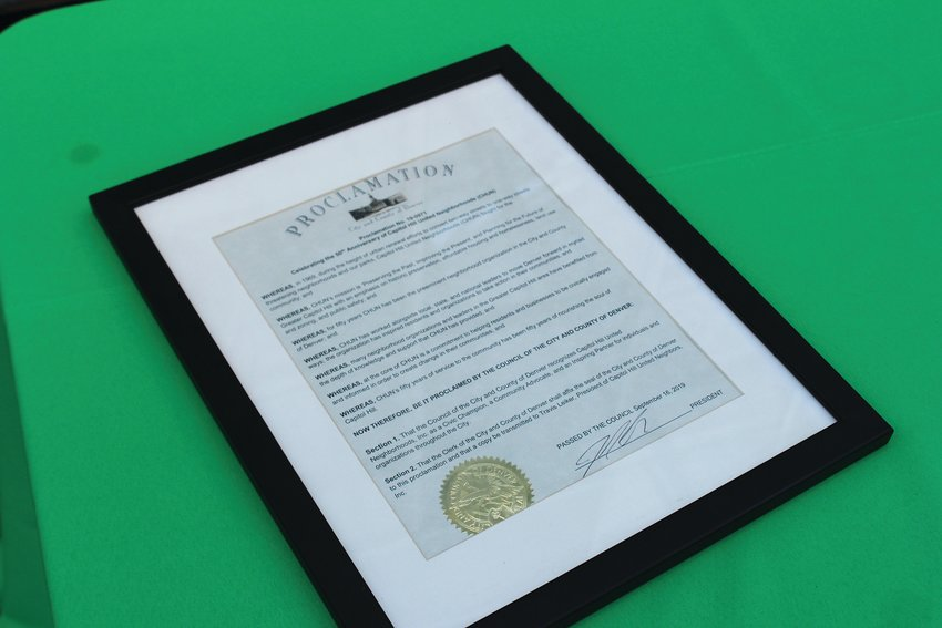 A proclamation from the city of Denver sits on display at the CHUN 50th anniversary event. The proclamation recognized the milestone for the nonprofit and its achievements over the years.