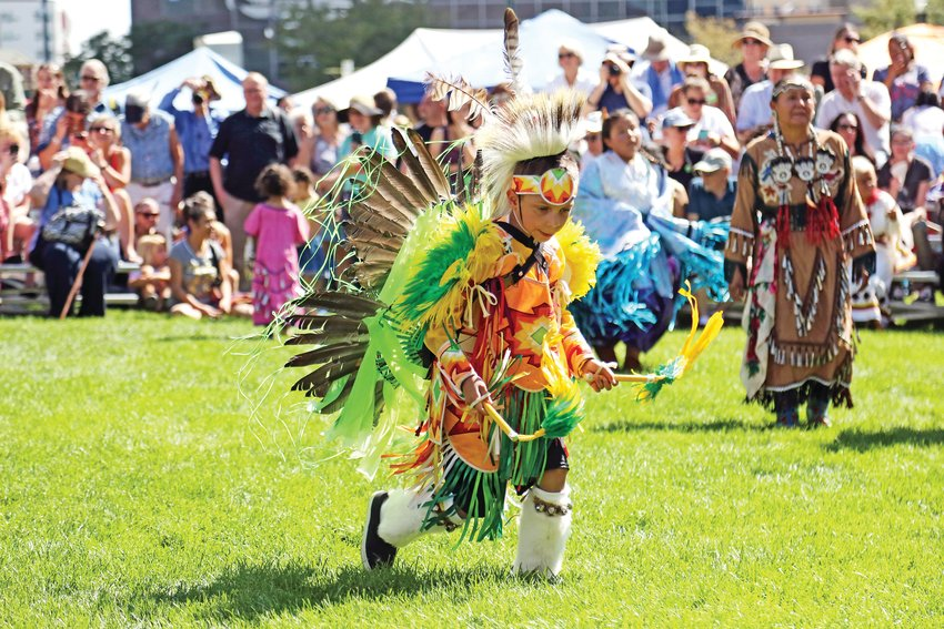 Joseph Cyrus dances with the junior boys at the Sept. 7 Friendship Powwow in Denver.