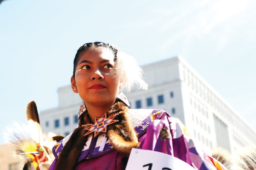 Lauren YoungDog-Shepherd, of Denver, was one of many teen dancers at the 30th annual Friendship Powwow.
