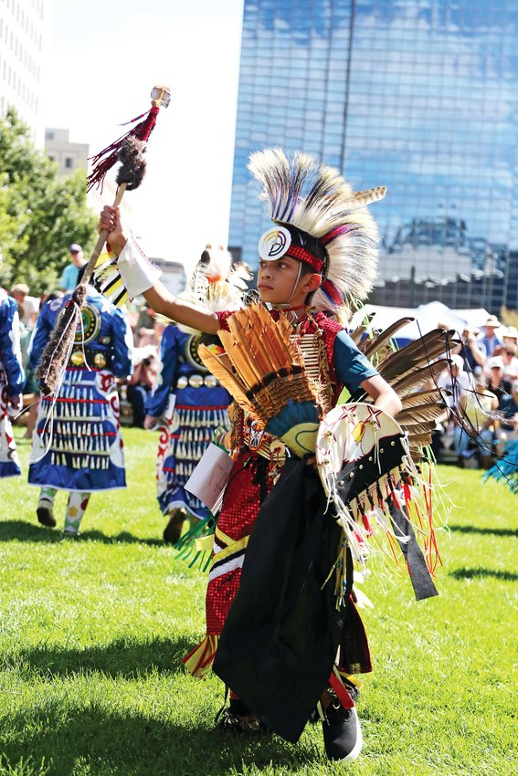 David Cyrus, of the Crow Nation, dances at the DAM in Denver.