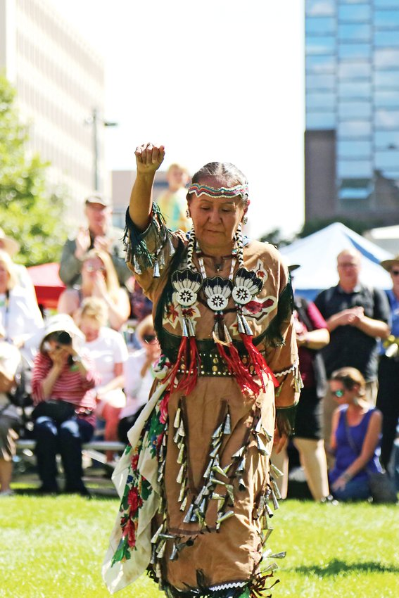 Elvira Sweetwater represented the Diné (Navajo) as the head woman dancer at the 30th annual Friendship Powwow held Sept. 7 at the Denver Art Museum.