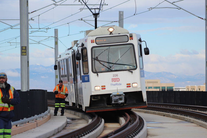An RTD light rail train during a drill prior to the opening of the Southeast Rail Extension, which opened three new stations in Lone Tree in May, 2019.
