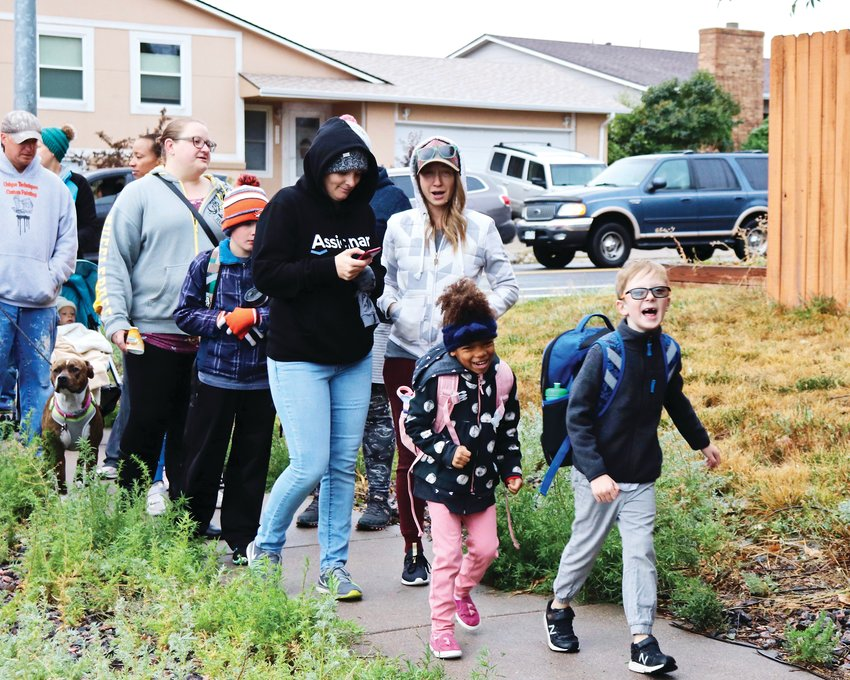 Warder Elementary students participate in National Walk to School Day on Oct. 2. The school has a long-standing tradition of participating in the national event every year, said principal Matt Hilbert.