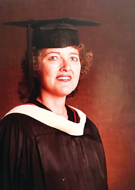A new scholarship offered at Red Rocks Community College will be in honor of the late Gwyn Green, who is pictured in her cap and gown after earning her master's degree in social work from the University of Denver in 1984.