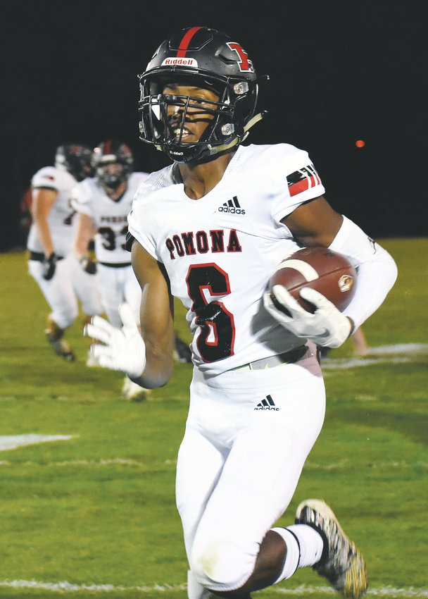 Pomona sophomore Jerrick Jackson races down the sideline after an interception against Lakewood on Thursday, Oct. 3, at Jeffco Stadium. The Panthers' defense was impressive with a 23-0 shutout of the Tigers in the Class 5A Metro West League opener.