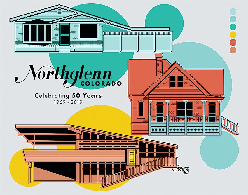 Arvada artist Jim Stigall created a special print for Northglenn's 50th Anniversary Home Tour Oct. 13, showing the Stonehocker Farmhouse and typical Perl Mack and Deza homes. That print is for sale for $25, or $20 as part of the tour.