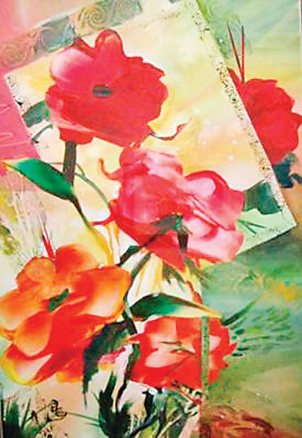 """Poppies Delight"" by Rita Campbell, which took third place in the ""Code Red"" show at the Depot Art Gallery."