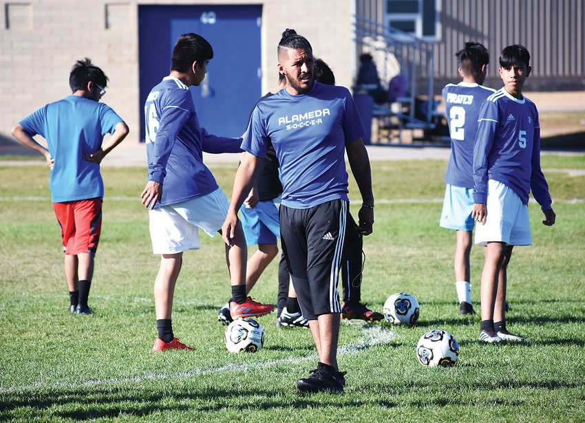 Alameda graduate Cesar Alcocer is in his third season leading the Pirates' boys soccer program. He has a long-term goal of improving the future opportunities of his players off the playing field.