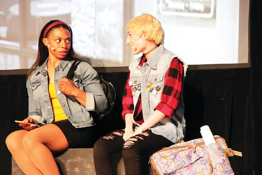 "Jasmine Pierce, left, playing Kayla, with Sydney Fleischman, playing Syd in the play ""Ghosted."" Littleton Public Schools hosted the play, which teaches lessons on addressing mental health issues in high school."