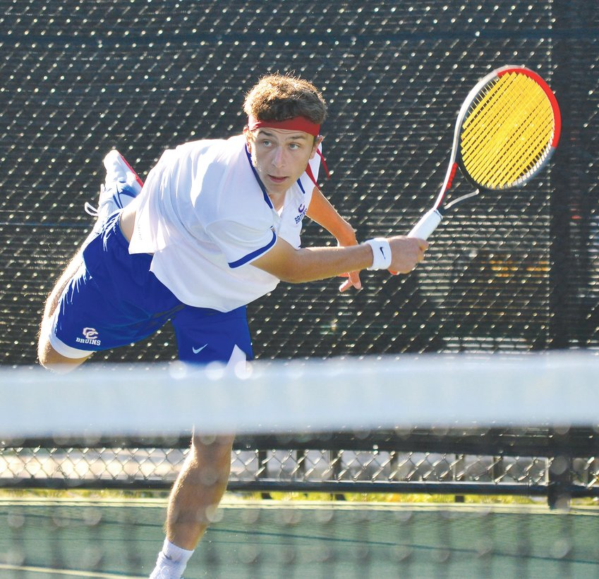 Cherry Creek sophomore Matthew Batmunkh returns a volley during his No. 2 singles championship match against Andy Schulling of Regis Jesuit on Oct. 19 at Gates Tennis Center.  Schulling won the state title with a 6-4, 6-2 win as  the Raiders pulled away from  Creek on the final day to win the team title.