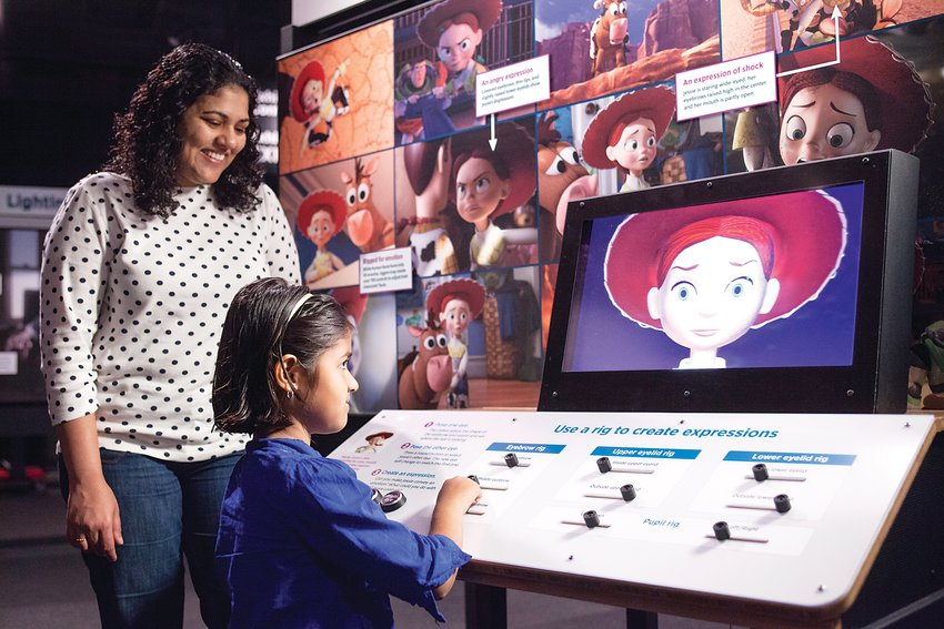 "Visitors to ""The Science Behind Pixar"" exhibit can see how some of their favorite characters are created by exploring some of 50 interactive elements contained in the exhibit."