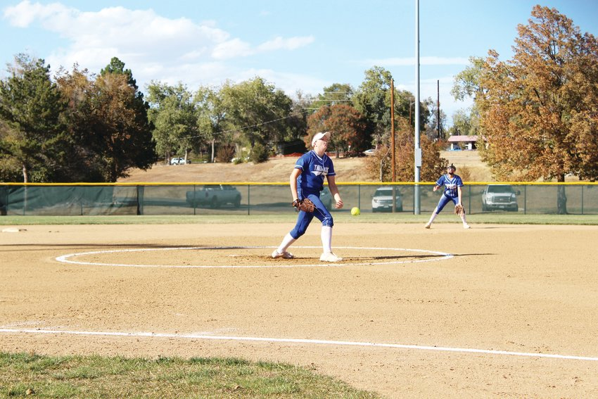 Thornton senior pitcher Lauryn McCollam delivers the pitch against Westminster Oct. 14 in the season finale.