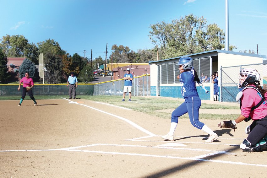 Against Westminster Oct. 14, Thornton sophomore Rissy Garcia records a leadoff double in the Lady Trojans' 21-14 win.